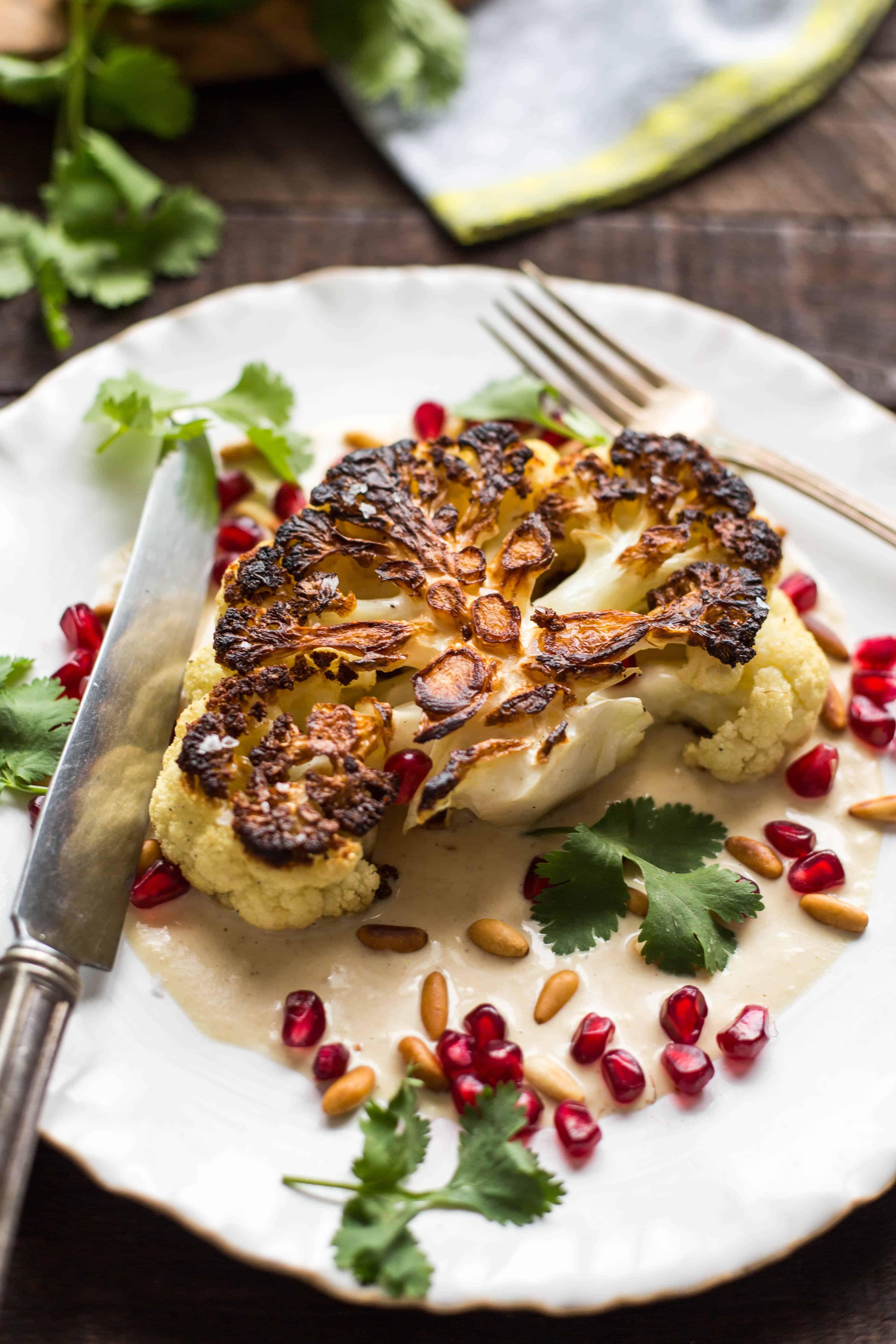 Cauliflower Steaks with Tahini and Pomegranate