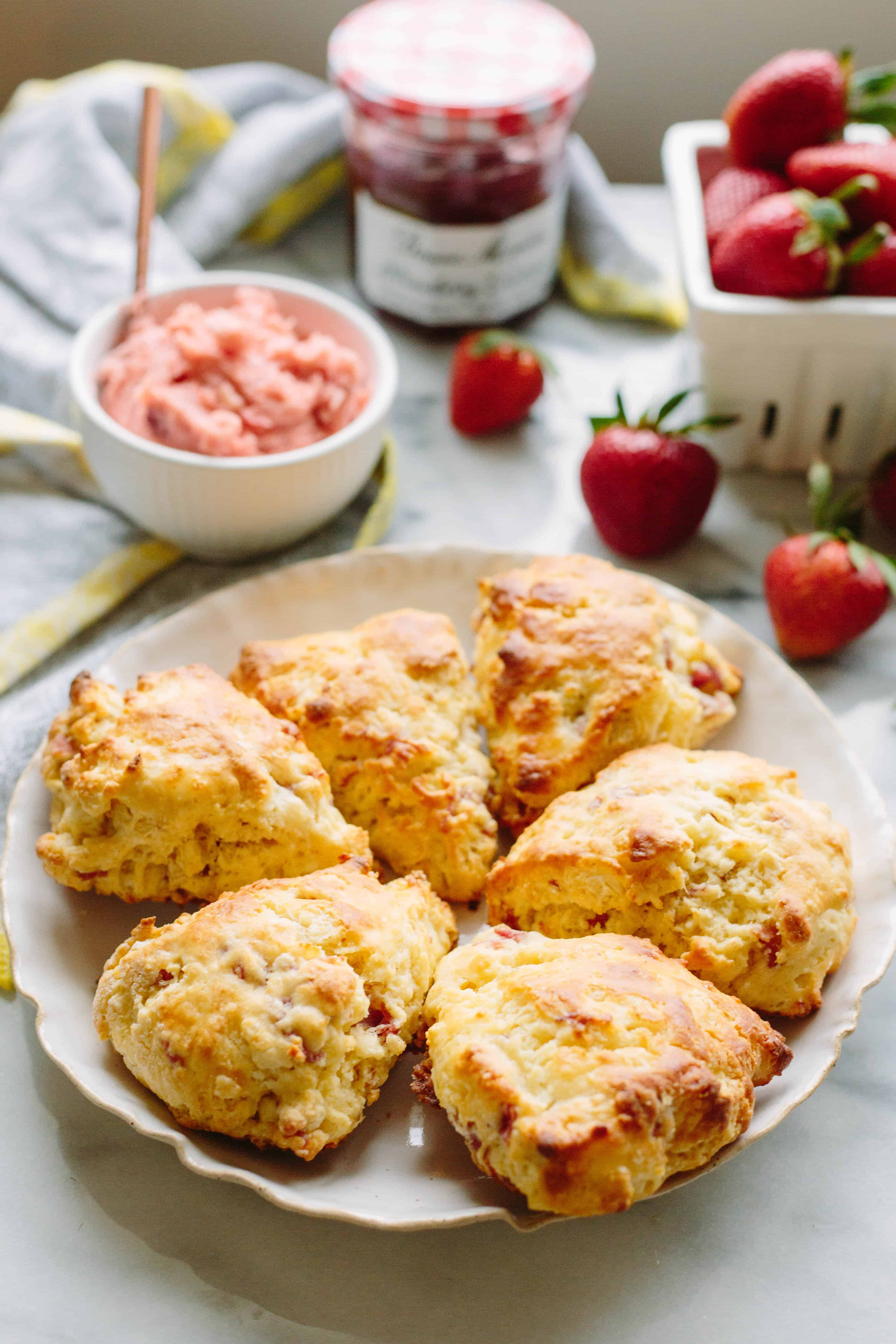 Prosciutto and Goat Cheese Scones with Strawberry Butter   ColeyCooks.com