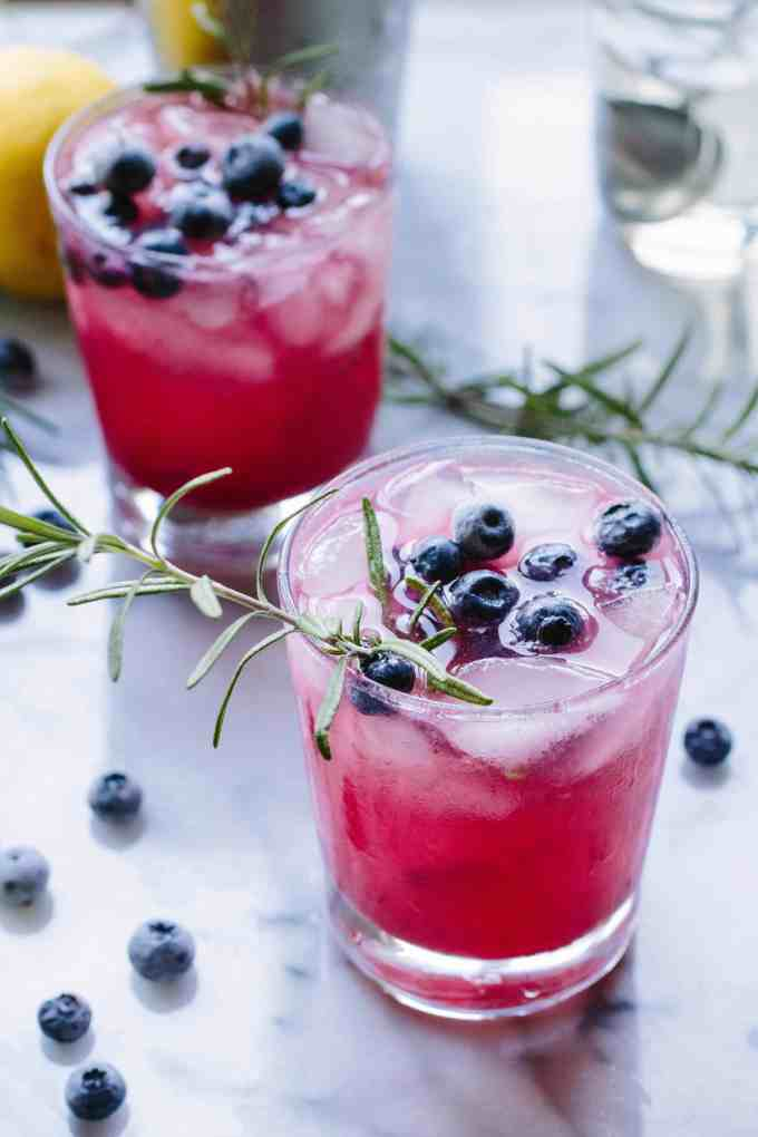 Rosemary Blueberry Vodka Spritzers