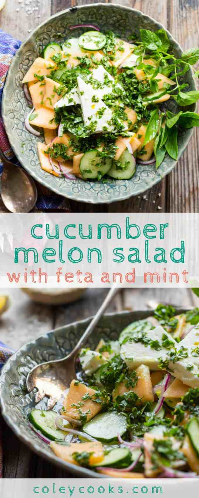 CUCUMBER MELON SALAD with FETA AND MINT | This easy, refreshing Cucumber Melon Salad with Feta + Mint is loaded with crisp cucumber, sweet summer cantaloupe, and salty chards of feta cheese. Perfect easy sumer salad recipe! #glutenfree #vegetarian | ColeyCooks.com