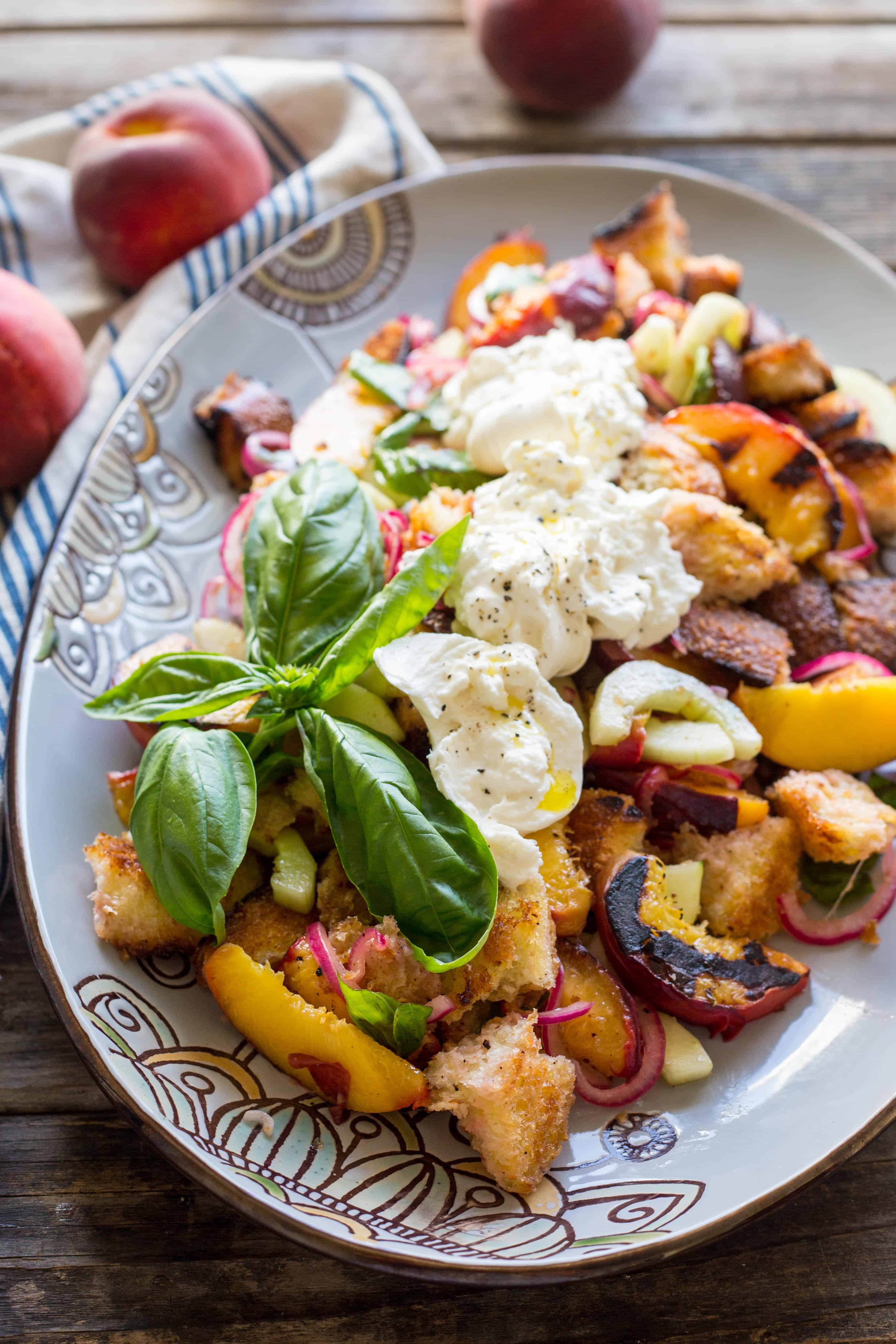 Grilled Peach Panzanella with Burrata | ColeyCooks.com