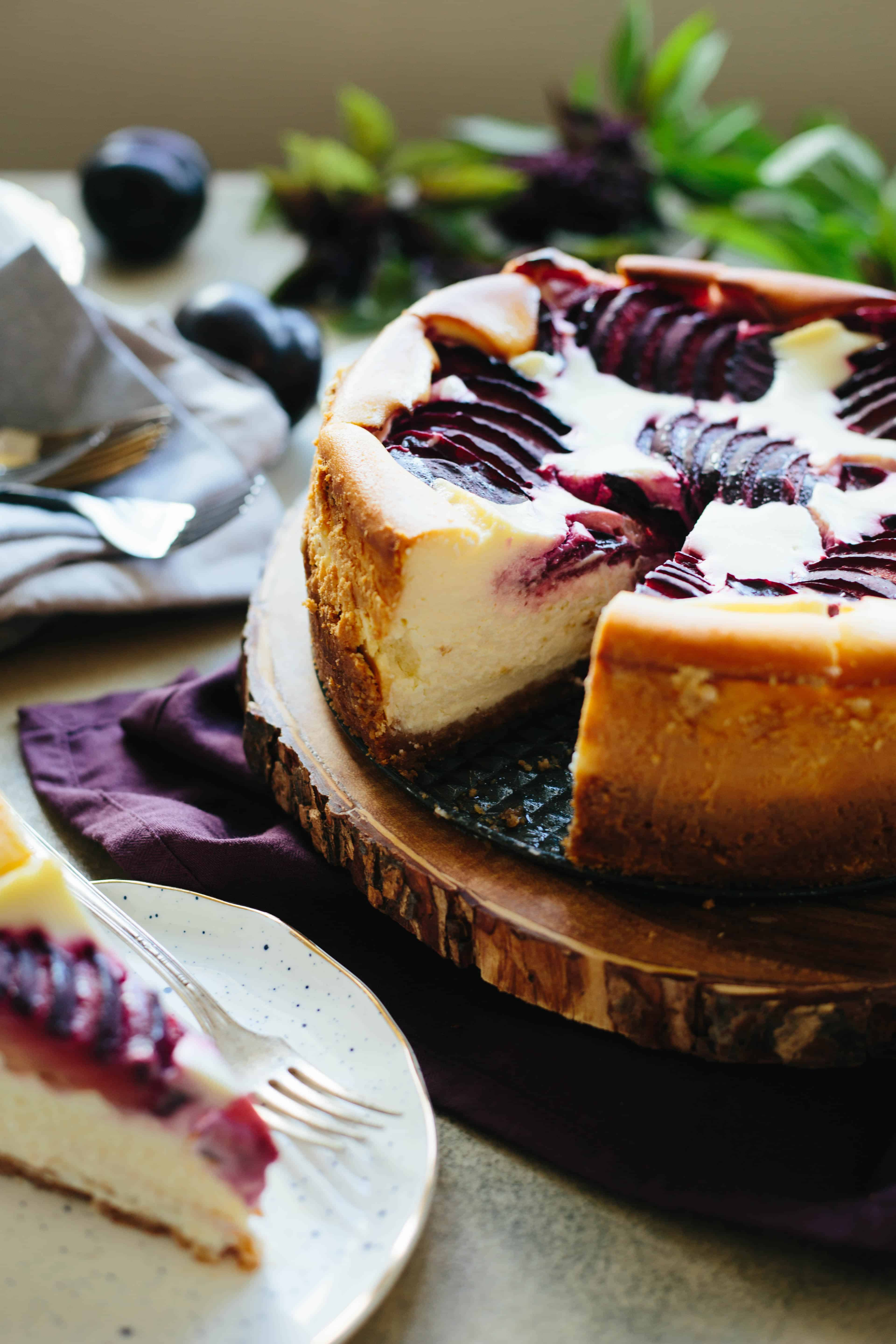 Ricotta Cheesecake with Plums   Coley Cooks