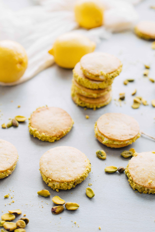 Meyer Lemon + Pistachio Sandwich Cookies | ColeyCooks.com
