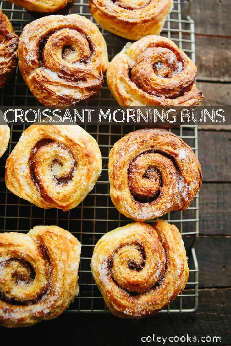 This recipe for Croissant Morning Buns makes an excellent baking project for a cozy winter weekend! #croissant #laminated #dough #buns #recipe | ColeyCooks.com