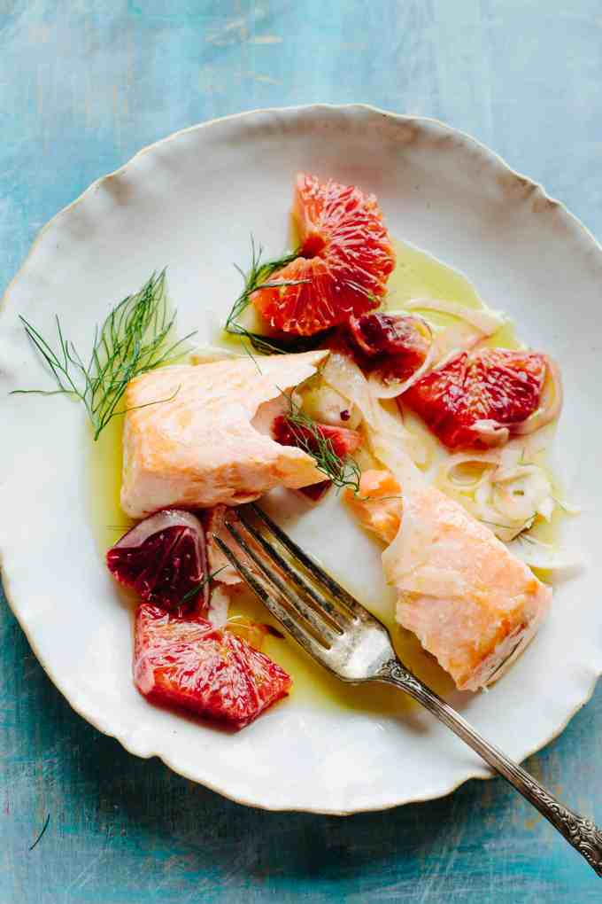 SLOW ROASTED SALMON with ORANGE + FENNEL | Succulent, buttery salmon cooked low and slow, then finished with a crisp and refreshing fennel orange salad. | ColeyCooks.com