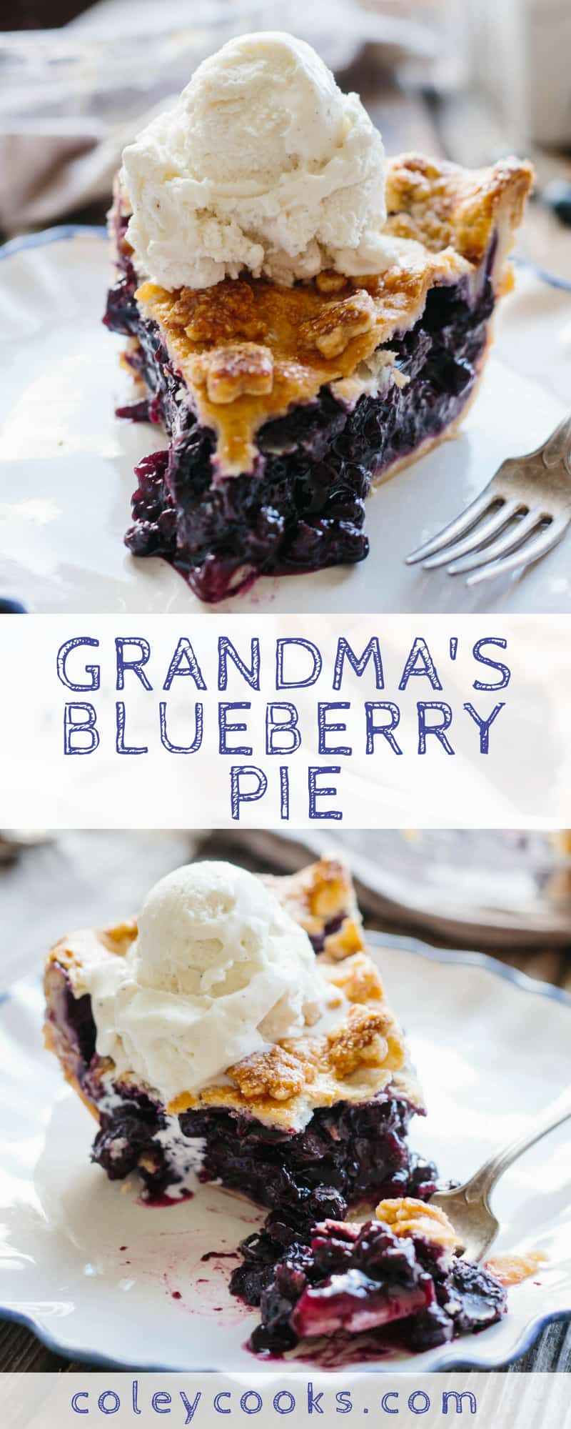 Grandma's Blueberry Pie | This simple recipe for my grandma's blueberry pie is a summer classic! Perfect for 4th of July. #easy #summer #dessert #recipe #4thofjuly #blueberry #pie | ColeyCooks.com
