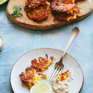 BUTTERNUT SQUASH FRITTERS with Spiced Yogurt   Best gluten free butternut squash fritters made with chick pea flour! Appetizer, side dish or light dinner #Thanksgiving #entertaining #recipe #butternut #squash #party #easy #glutenfree   ColeyCooks.com