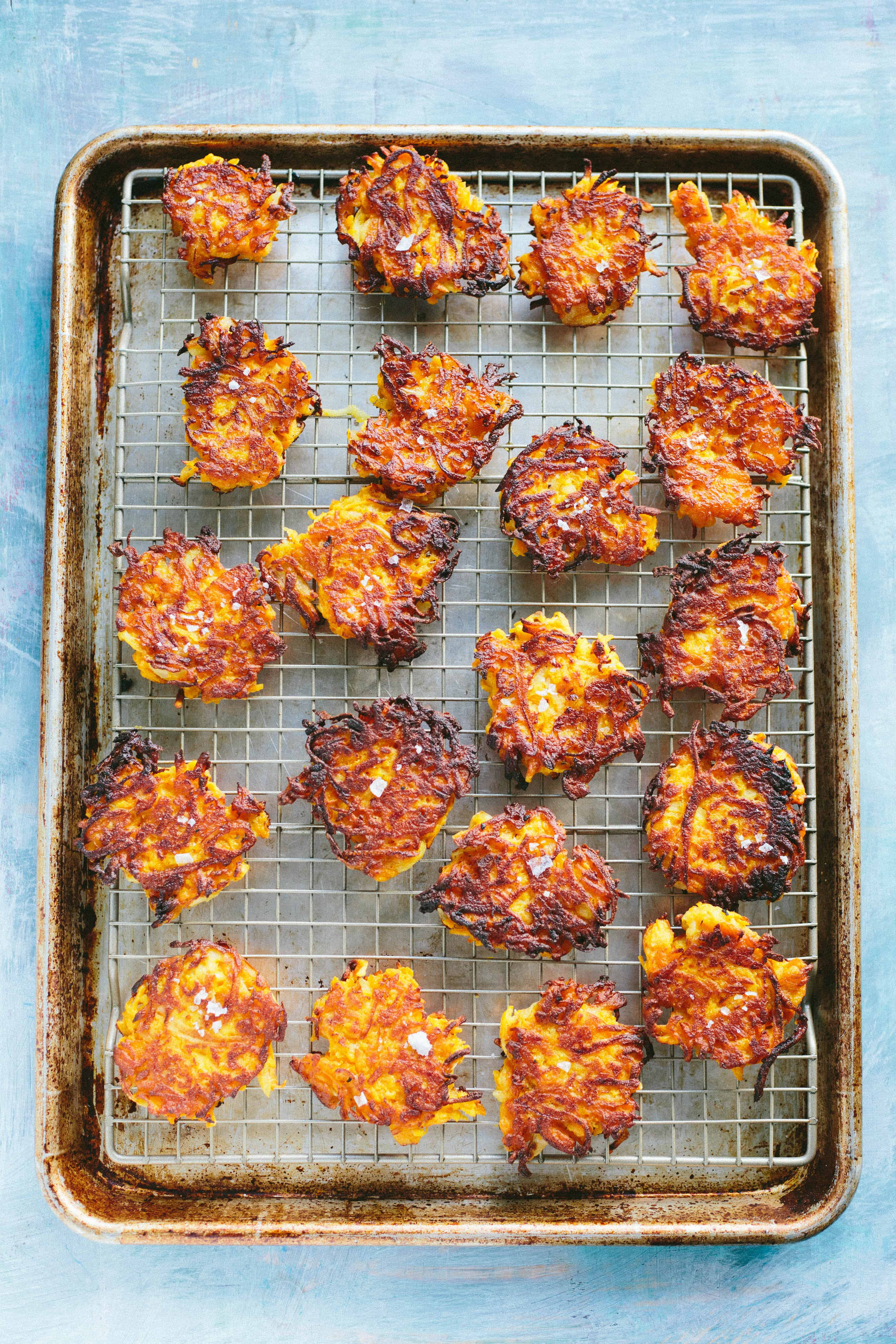 BUTTERNUT SQUASH FRITTERS with Spiced Yogurt | Best gluten free butternut squash fritters made with chick pea flour! Appetizer, side dish or light dinner #Thanksgiving #entertaining #recipe #butternut #squash #party #easy #glutenfree | ColeyCooks.com