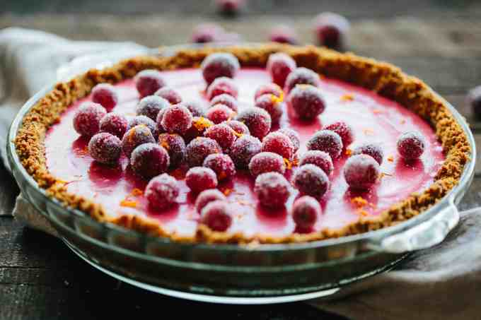 CRANBERRY MEYER LEMON PIE with gingersnap crust | Think key lime pie, but better. A beautiful and unique holiday dessert perfect for Thanksgiving! #Thanksgiving #entertaining #recipe #cranberry #meyerlemon #pie | ColeyCooks.com