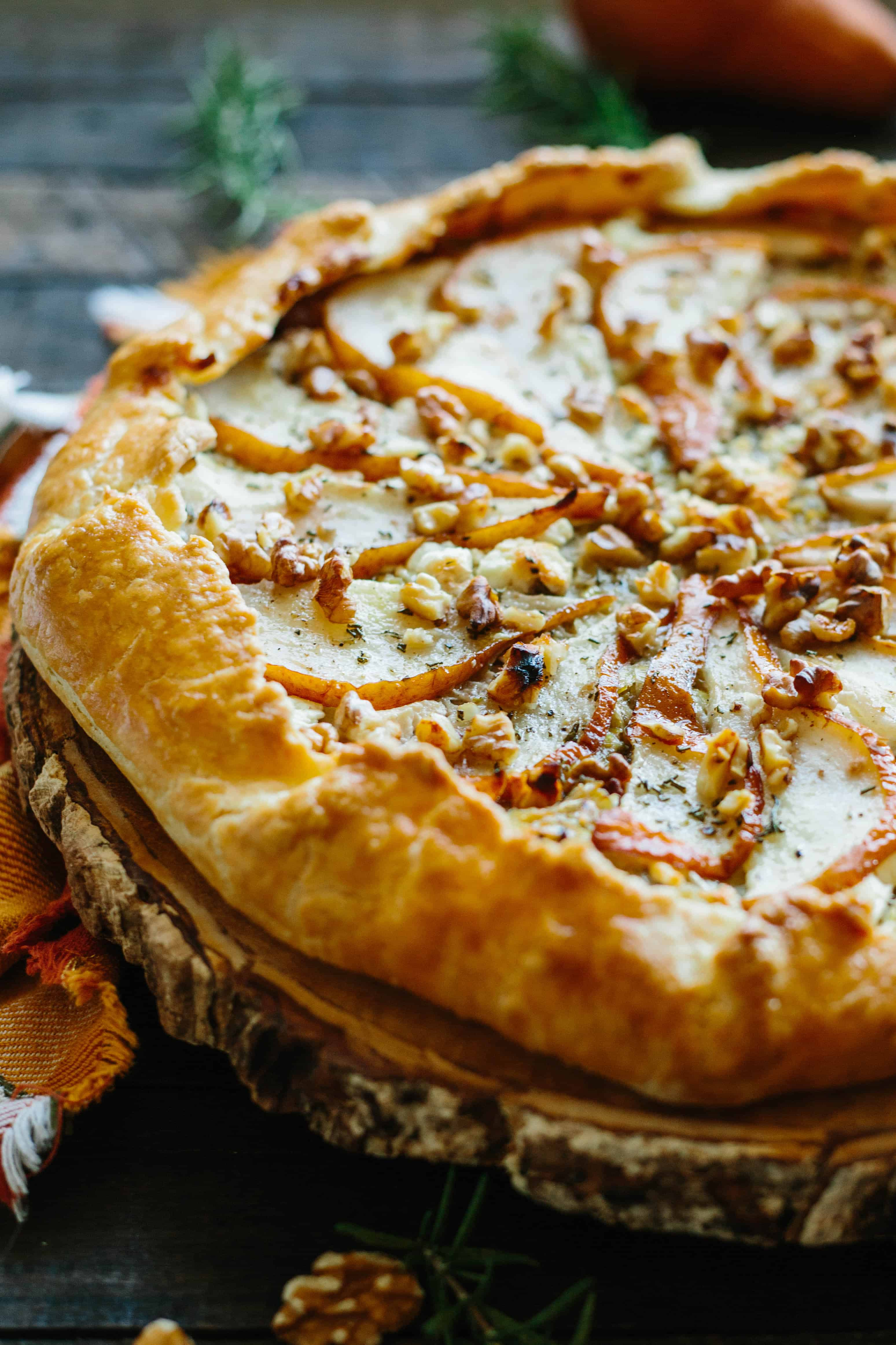 PEAR + LEEK GALETTE with Goat Cheese + Walnuts   Delicious savory free-form tart perfect as a Thanksgiving appetizer #Thanksgiving #appetizer #entertaining #recipe #pear #leek #savory #galette #pie   ColeyCooks.com