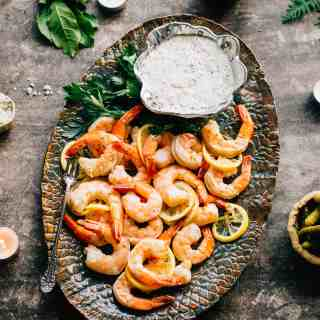 Roasted Shrimp Cocktail with Whole Grain Mustard Sauce   This super easy recipe is a unique twist on shrimp cocktail! Perfect recipe for holiday entertaining! #christmas #shrimp #shrimpcocktail #christmaseve #7fishes #recipe #easy   ColeyCooks.com
