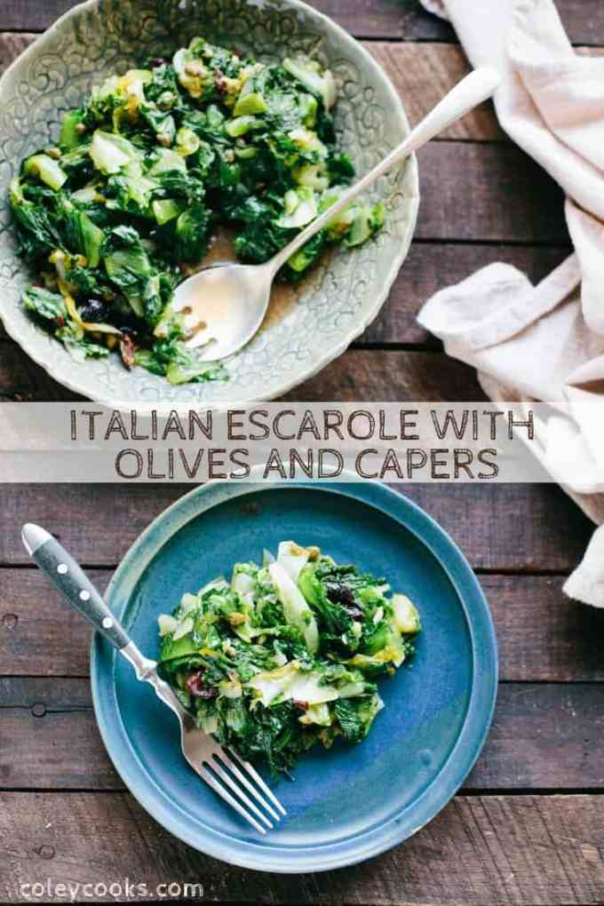 Italian Escarole with Olives and Capers is a classic Neapolitan side dish that's easy to make, super healthy, vegan, gluten free and packed with flavor! #easy #vegan #glutenfree #side #recipe #greens #side #escarole #Italian #naples #neapolitan #vegetables | ColeyCooks.com