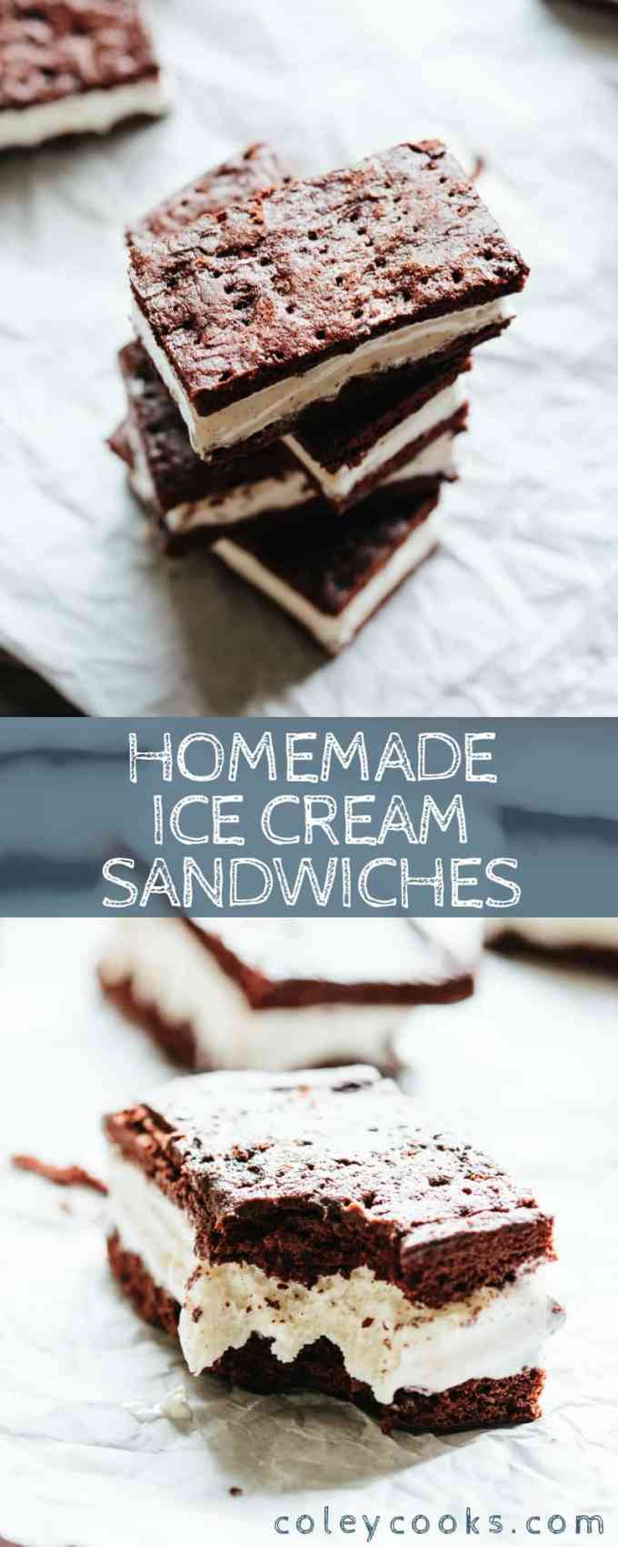 Homemade Ice Cream Sandwiches! So easy and so much better than store bought. Gluten free optional! Great for kids and summer parties. #easy #homemade #icecream #sandwiches #dessert #recipe | ColeyCooks.com
