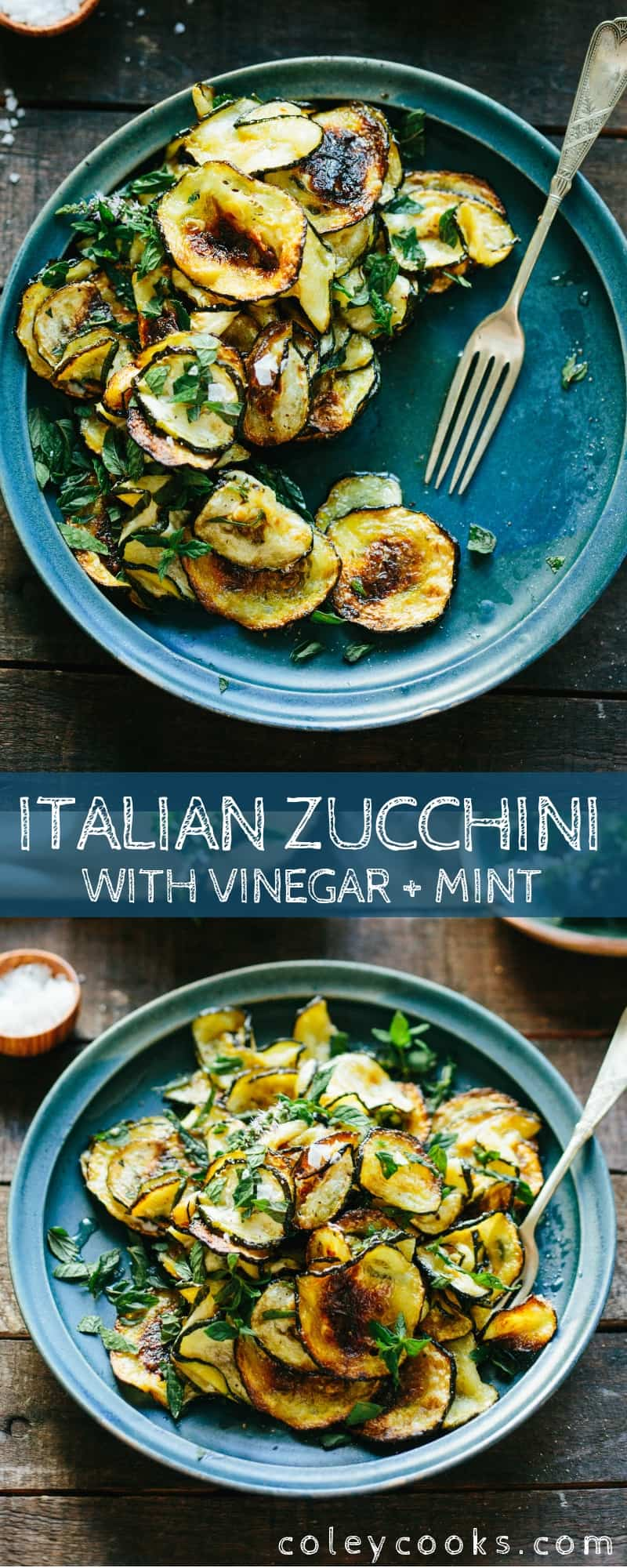 Zucchini with Vinegar and Mint, known as Zucchini alle Scapece in Naples and Concia in Rome, is a simple Italian side dish made with only 5 ingredients. Vegan, gluten free and SO GOOD! #easy #zucchini #italian #side #recipe | ColeyCooks.com