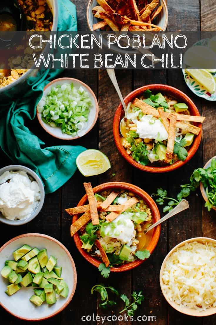 Chicken Poblano White Bean Chili is an easy, healthy and delicious chili recipe that's awesome for both weeknight dinners and entertaining friends and family. #easy #chicken #poblano #chili #bean #recipe | ColeyCooks.com