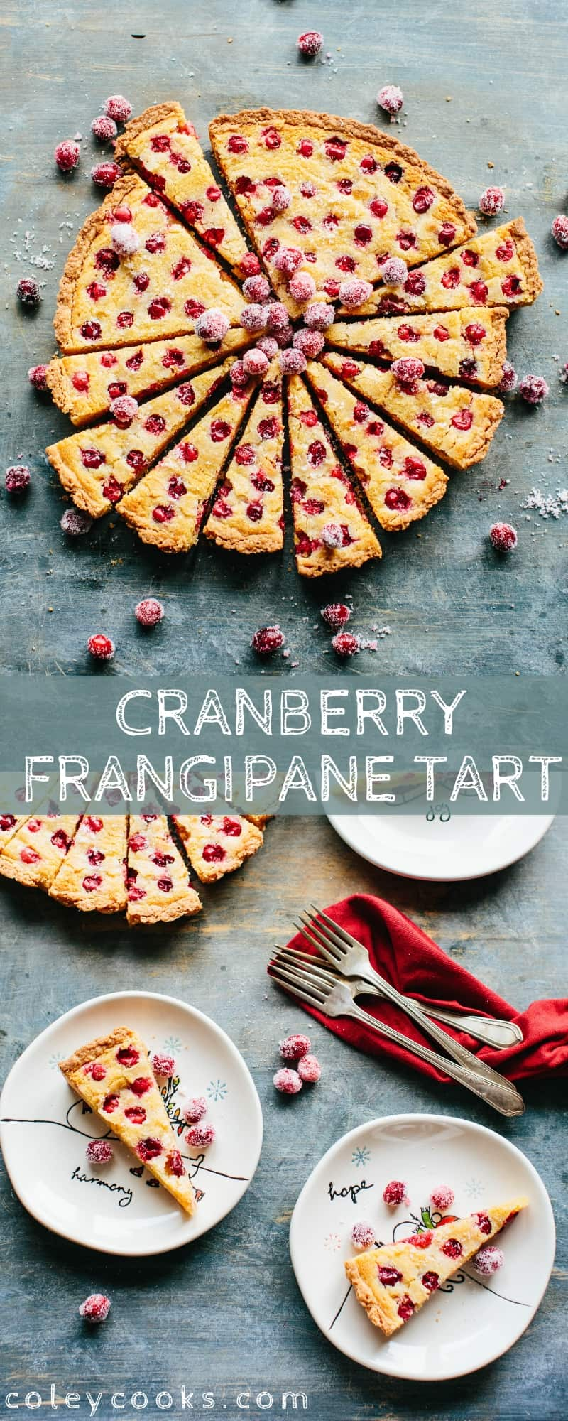 This Cranberry Frangipane Tart is an easy and elegant holiday dessert that features tart cranberries and creamy frangipane in a buttery shortbread crust. #easy #thanksgiving #shortbread #cranberry #frangipane #tart #recipe | ColeyCooks.com