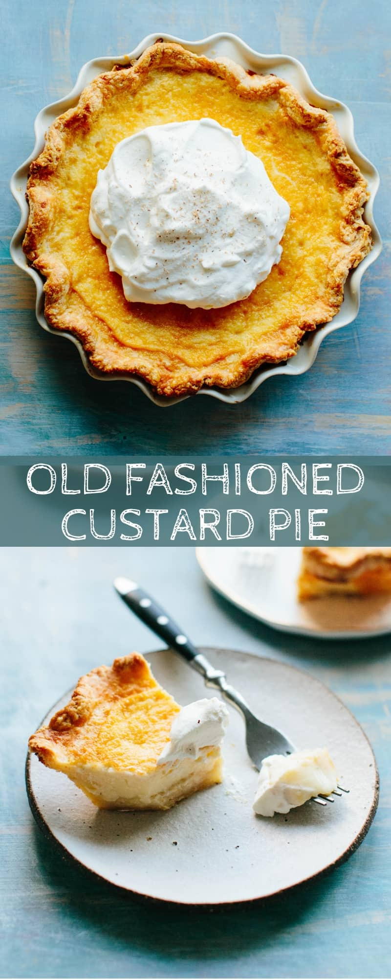This Old Fashioned Custard Pie is a simple, easy recipe passed down from my grandmother! Rich and creamy nutmeg scented custard nestled inside a flaky buttermilk pie crust. #easy #thanksgiving #egg #custard #pie #recipe | ColeyCooks.com