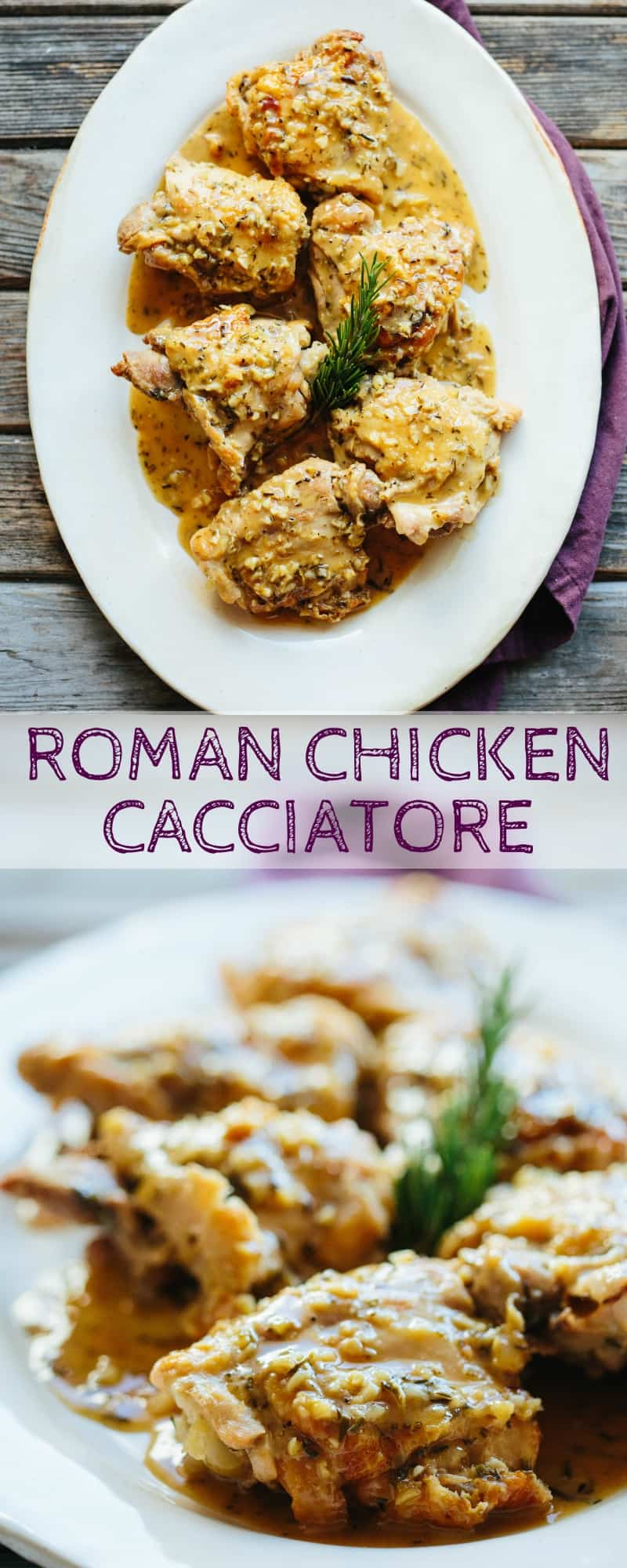 ROMAN CHICKEN CACCIATORE is made with bone-in chicken thighs slowly braised in a flavorful liquid made from white wine, vinegar, garlic and rosemary. #chicken #cacciatore #easy #recipe #roman #vinegar | ColeyCooks.com