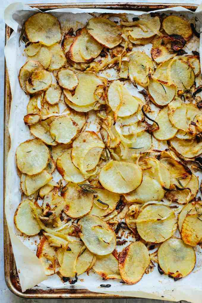 Crispy Roasted Potatoes with Onions and Rosemary