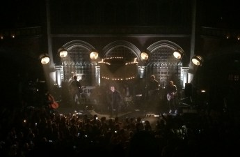 Liam Gallagher performing at the Union Chapel