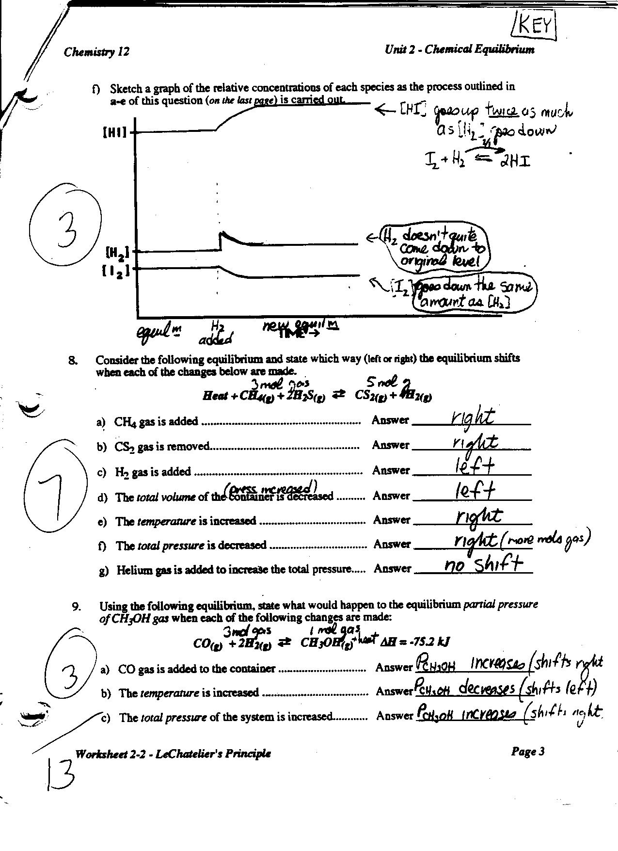 Le Chatelier S Principle Worksheet Answer Key