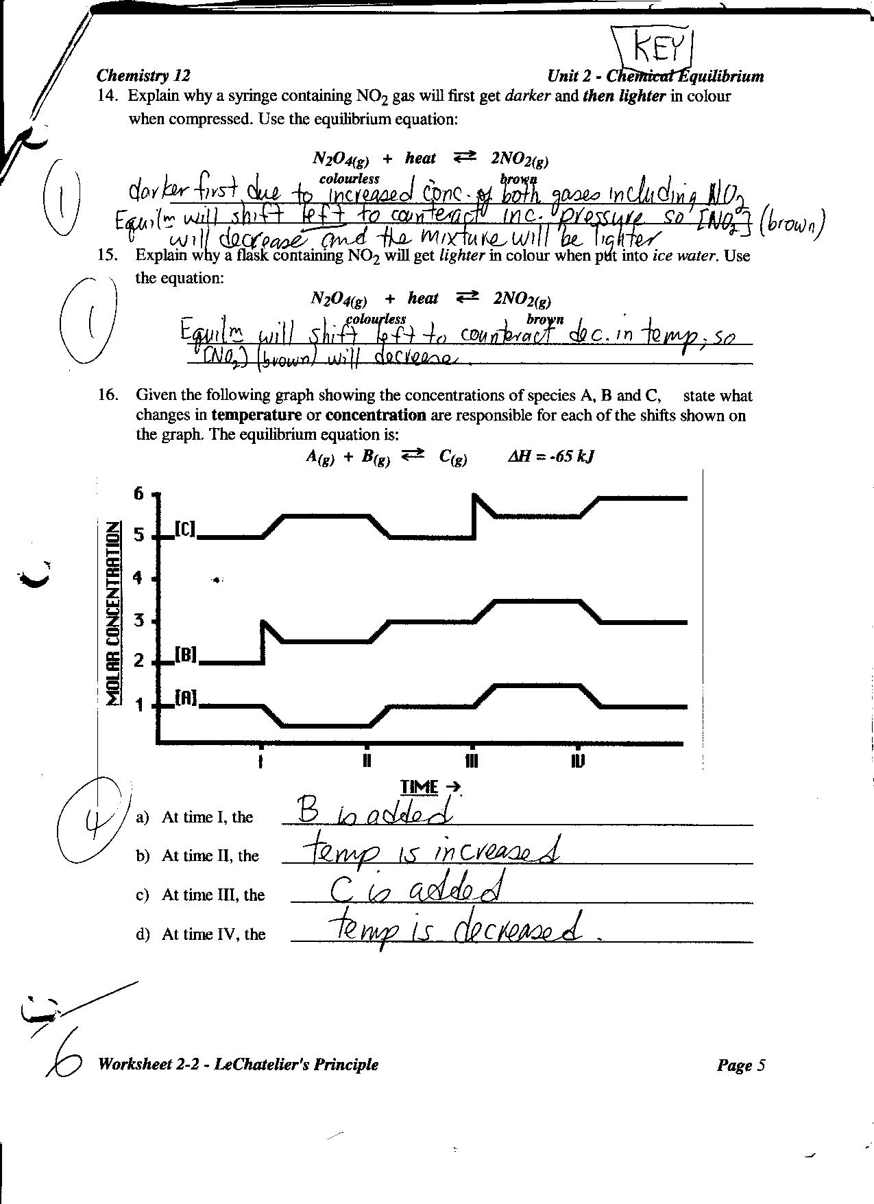 Le Chatelier S Principle Lab Worksheet Answers