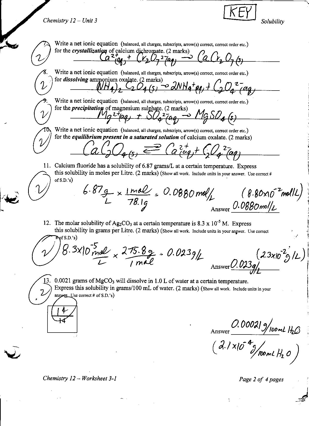 26 Chemistry Unit 11 Worksheet 3