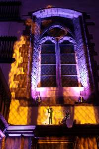 Durham Castle Gothic Windows Lit in Purple