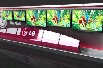 LG TV Wall as it would be in a Best Buy. Design by Colin Finkle. White frame with gark grey backgrounds. TVs have pictures of parrots to show off colour.
