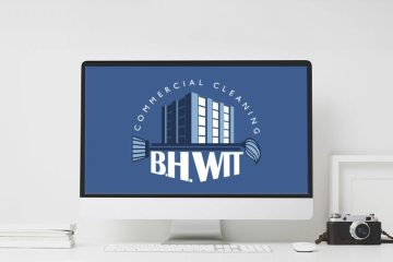Logo for BH Whit on a iMac on a clean desk.