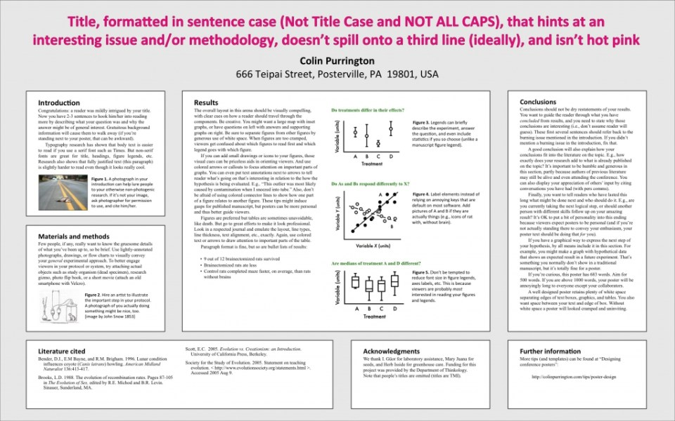Advice on designing scientific posters