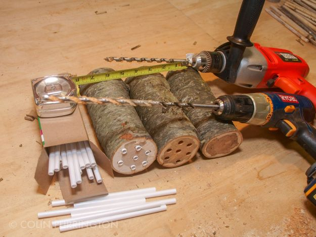 Drilling holes for mason bee inserts