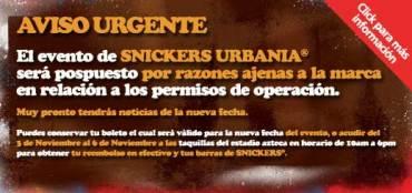 Snickers Urbania pospuesto hasta nuevo aviso