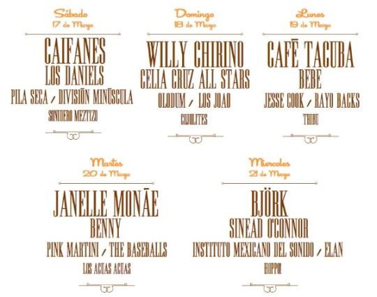 Line up por dia Cumbre Tajin 2012