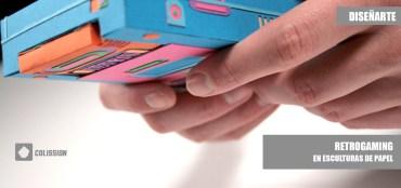 Retro gaming en esculturas de papel