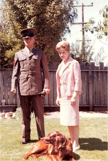 1962. Burlingame, California. Author as USMC PFC (United States Marine Corps, Private First Class) with my mother, Maxine H. McKayand our Irish Setter 'Red' at the family residence.