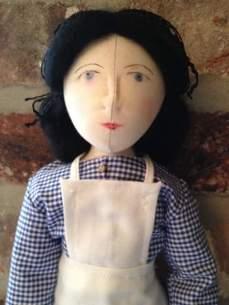 Close up of Hannah's modern Gressenhall doll - the enactor