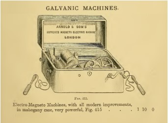 The galvanic machine Dr Vincent wished to order, taken from the 1873 catalogue of Arnold & Sons of London which he referenced in his request to the Guardians.