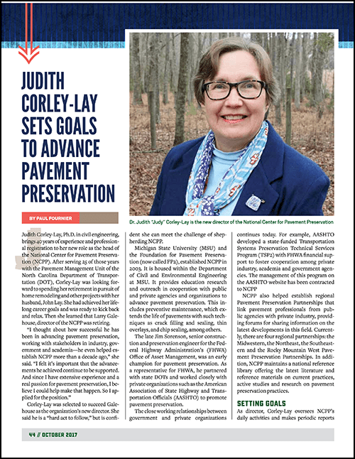 Dr. Judy Corley-Lay is the new director at the National Center for Pavement Preservation (NCPP) at Michigan State University.