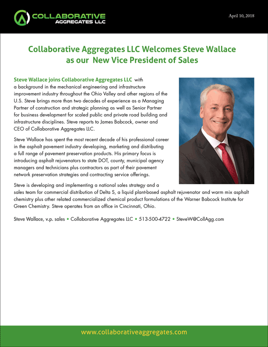 Steve Wallace joins Collaborative Aggregates LLC