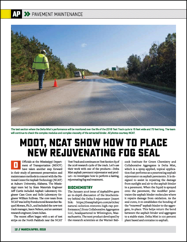arch 2019 edition of AsphaltPro magazine features Mississippi DOT research with spray applied Delta Mist penetrating asphalt rejuvenator