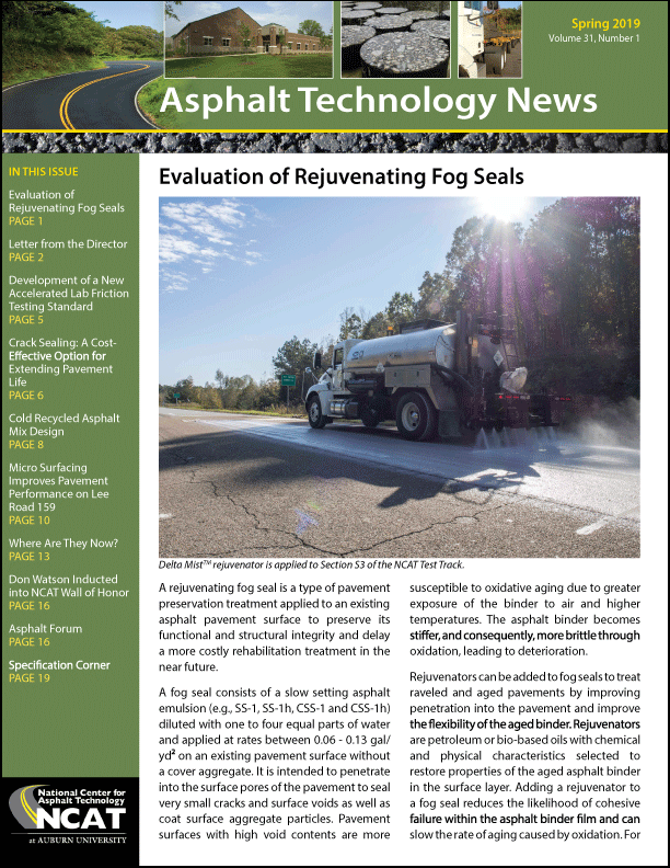 Asphalt Technology News Spring 2019 NCAT Delta Mist Article
