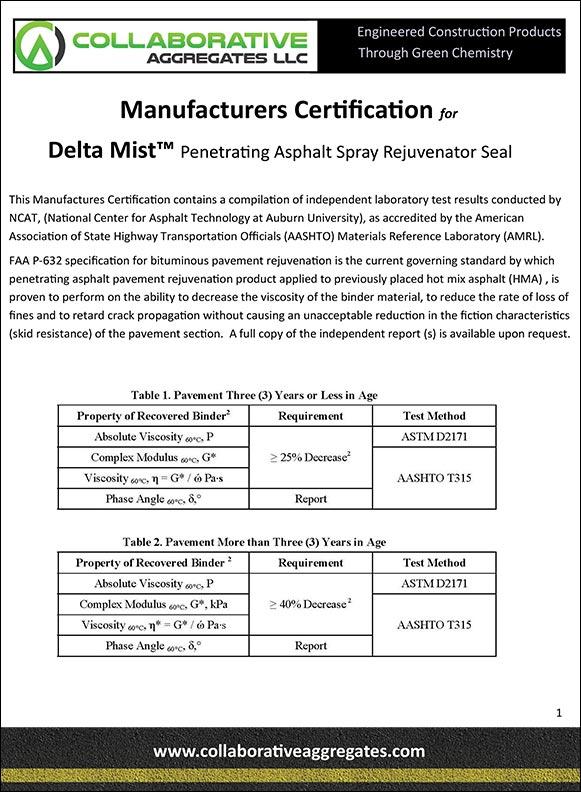 Manufacturers Certification for Delta Mist™ Penetrating Asphalt Spray Rejuvenator Seal