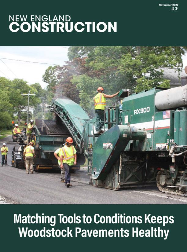 Woodstock, Connecticut pavement management program outlined in the New England Construction magazine's November 2020 edition