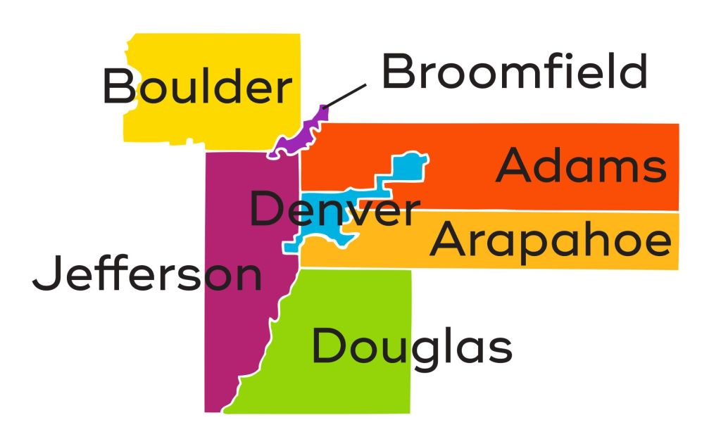 SCFD Seven Counties Map Adams, Arapahoe, Boulder, Broomfield, Denver, Douglas and Jefferson Counties