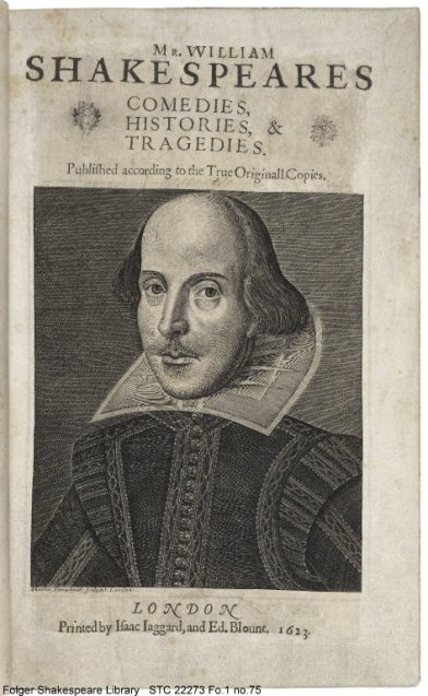Droeshout's engraving of Shakespeare on the title page of the First Folio