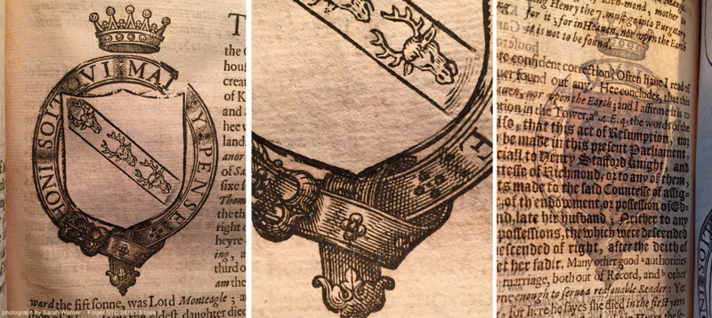 on the left, the cancel slip pasted over an incorrect coat of arms; in the middle, a detail showing the edge of the slip; on the right, the verso of the page showing the original printed image and the pasted-in overlay (STC 24755.8 copy 1; sig. 2D2r and v)