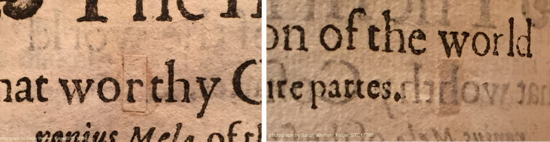"""on the left, the cancel slip for """"r""""; on the right, the verso of the leaf showing the original """"h"""" (STC 17786; sig. C1r)"""