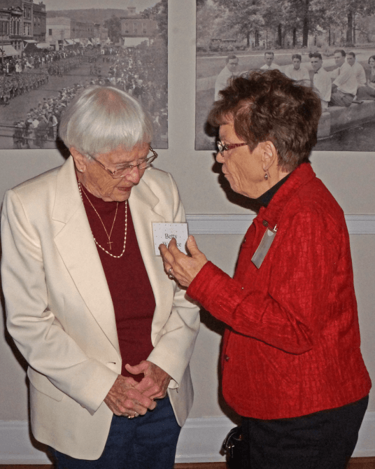 Betty Wallace and Joan Fratzke at the Dec. 10, 2018, Retired Faculty Luncheon