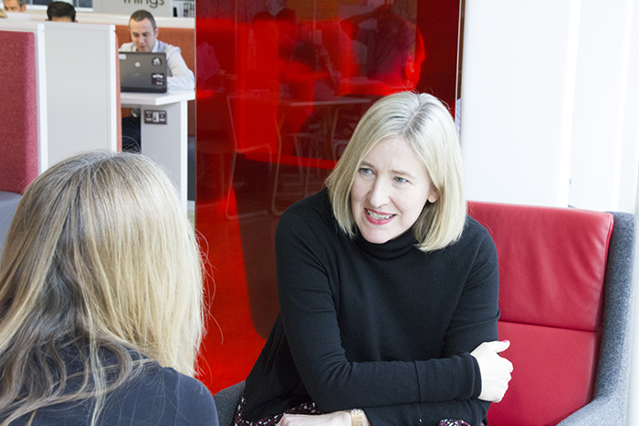 Cathryn Higgs talking to Rachel Machin